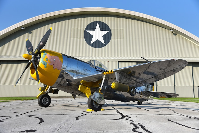 A view of the Republic P-47D (Bubble Canopy Version) before restoration crews at the National Museum of the U.S. Air Force moved the aircraft into the WWII Gallery on Aug. 14, 2018. Several WWII era aircraft on display were temporarily placed throughout the museum to provide adequate space for the Memphis Belle exhibit opening events. (U.S. Air Force photo by Ken LaRock)