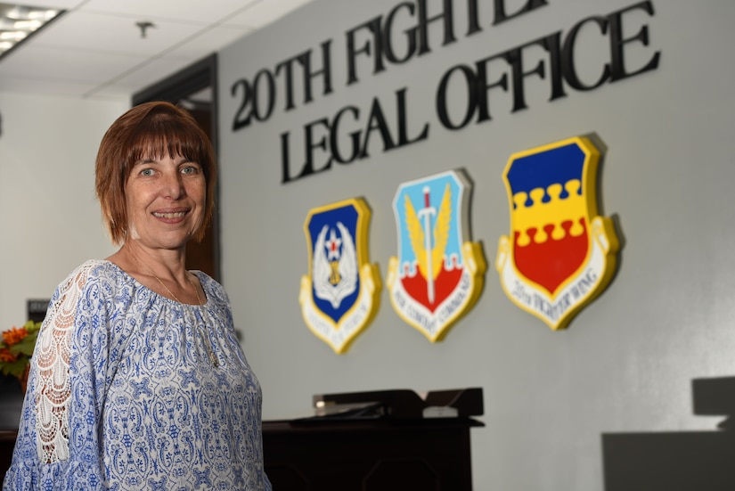 Christine Herrera, 20th Fighter Wing Staff Judge Advocate legal assistant, stands in the legal office at Shaw Air Force Base, S.C., Aug. 14, 2018.