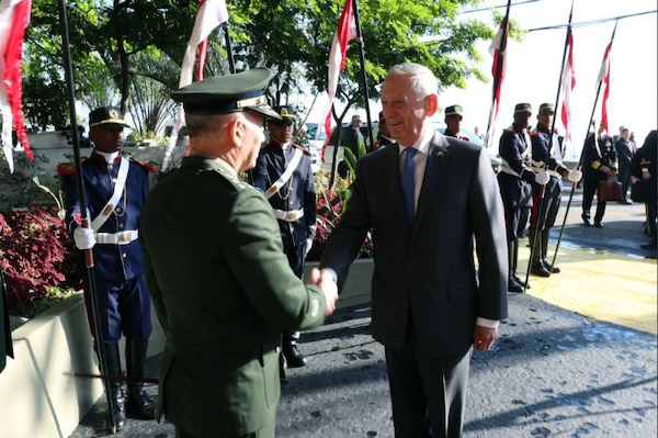 Defense Secretary James N. Mattis greets military leaders at the Escola Superior de Guerra, Brazil's war college, in Rio de Janeiro, where he delivered a speech on enhancing defense partnerships, Aug. 14, 2018. U.S. Embassy photo