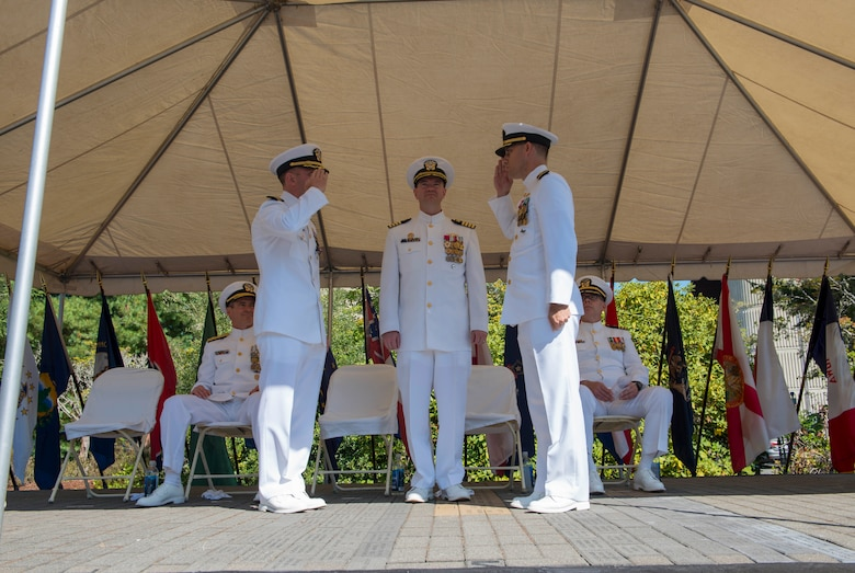 BANGOR, Wash. (Aug. 9, 2018) - Cmdr. Jason Geddes, right, from Indianapolis, Indiana, is relieved by Cmdr. Jim Lembo, from Mesa, Arizona, during a change of command ceremony for the Blue crew of the Ohio-class ballistic missile submarine USS Nebraska (SSBN 739). Under the leadership of Geddes, the crew recently returned from their first strategic deterrent patrol since 2013, following an extended engineered refueling overhaul. (U.S. Navy photo by Mass Communication Specialist 1st Class Amanda R. Gray/released)