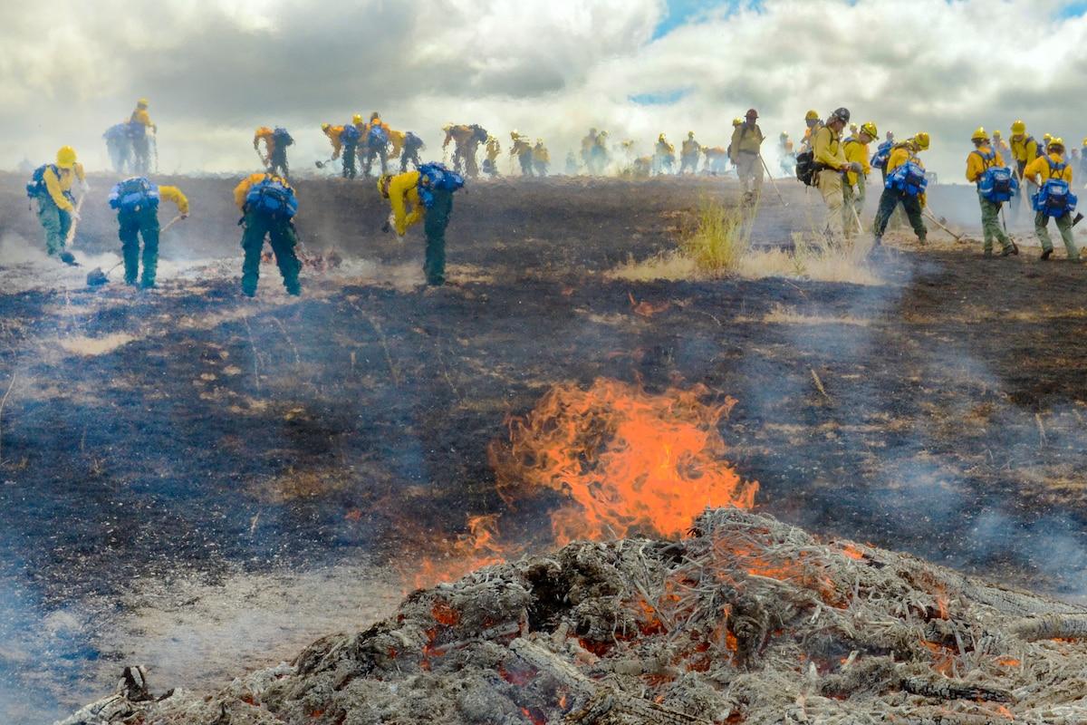 Guardsmen stand behind flames.