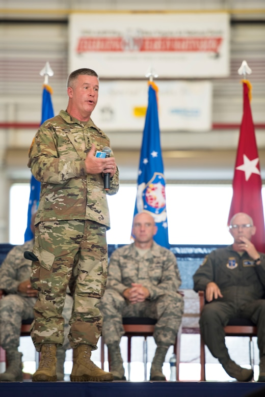 West Virginia National Guard Adjutant General, Maj. Gen. James Hoyer, speaks during a change of command ceremony at the 167th Airlift Wing, Aug. 5. Col. David Cochran assumed command of the wing from Col. Shaun Perkowski. (U.S. Air National Guard photo by Senior Master Sgt. Emily Beightol-Deyerle)