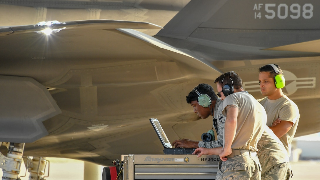 Crew chiefs assigned to 421st Aircraft Maintenance Unit prepare to launch F-35A Lightning II fighter jets at Hill Air Force Base, Utah, July 31, 2018. (U.S. Air Force photo by R. Nial Bradshaw)