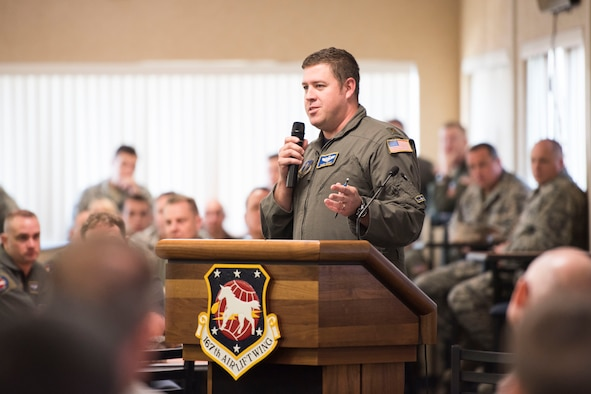 Maj. Randy Wright, chief of safety for the 167th Airlift Wing, discusses the objectives of the safety review day during a commanders call, June 15, 2018, at the Martinsburg, W.Va. air base.(photo by Senior Master Sgt. Emily Beightol-Deyerle)
