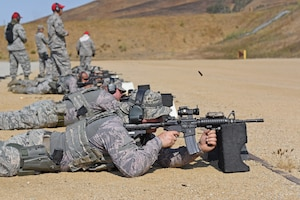 U.S. Air National Guardsmen fire M4 rifles during annual training at Camp San Luis Obispo, California, Aug. 1, 2018. The 10-day annual-training exercise brought together Security Forces members from four Air National Guard units in Arizona and Illinois to improve weapons, land navigation, and tactical movement skills. (U.S. Air National Guard photo by Staff Sgt. Dillon Davis)