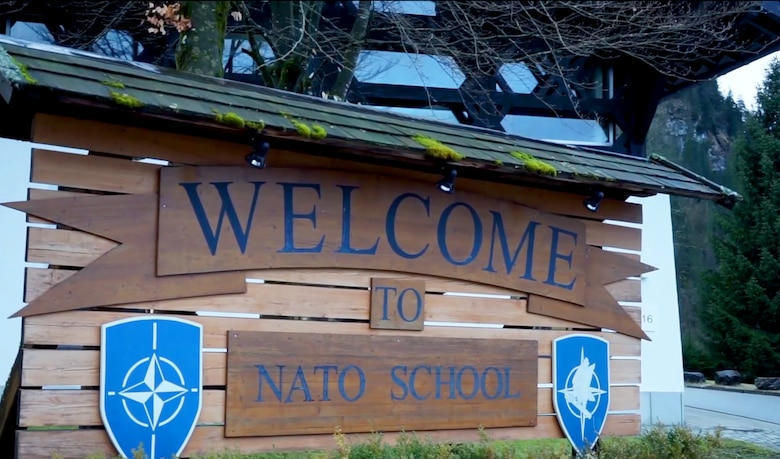 A welcome sign greets Air Force Instructors traveling to Oberammergau, Germany, while they provide space expertise to the NATO School in March, 2018.
