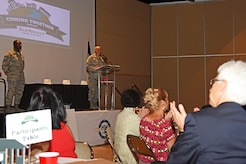 U.S. Air Force Col. Robert Ramirez, 17th Training Wing vice commander, speaks during a San Angelo Chamber of Commerce luncheon at the McNease Convention Center in San Angelo, Texas, Aug. 14, 2018. Ramirez express excitement to be stationed at Goodfellow Air Force Base for the third time in his career. (U.S. Air Force photo by Staff Sgt. Joshua Edwards/Released)