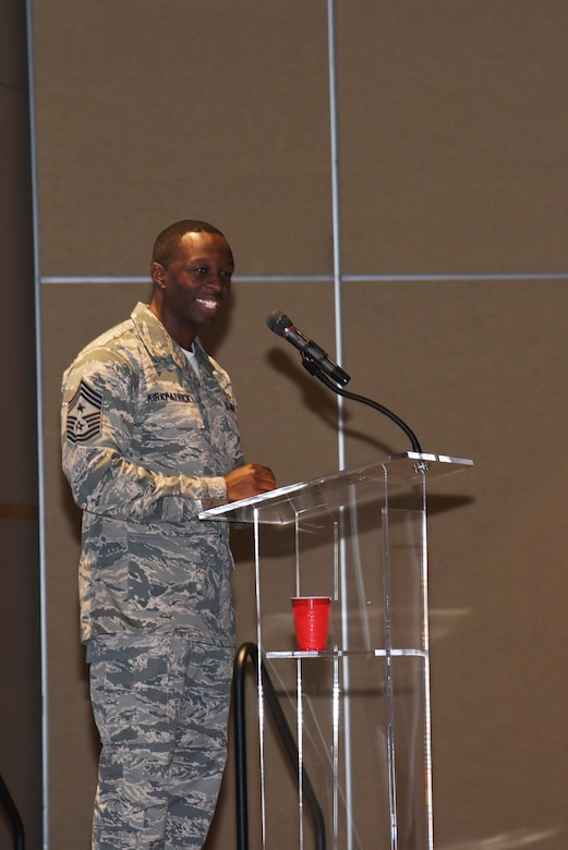 U.S. Air Force Chief Master Sgt. Lavor Kirkpatrick, 17th Training Wing command chief, speaks during a San Angelo Chamber of Commerce luncheon at the McNease Convention Center in San Angelo, Texas, Aug. 14, 2018. During his speech, Kirkpatrick talked about his previous experiences at Goodfellow Air Force Base and how he looks forward to what his future holds here. (U.S. Air Force photo by Staff Sgt. Joshua Edwards/Released)