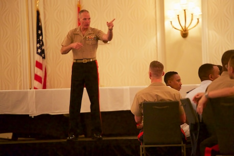 Lt.Gen. Mark A. Brilakis, Commander, U.S. Marine Corps Forces Command, and Brig. Gen. William H. Seely III, Director, Office of U.S. Marine Corps Communication, provide service members the Marine Corps' diversity vision and commitment to strengthening the sea services by recruiting, developing and retaining talent from all cultures and backgrounds.  Brilakis and Seely facilitated discussions at the National Naval Officers Association Annual Symposium in Portsmouth, Va., on Aug. 9. (Official U.S. Marine Corps photo by Lance Cpl. Garett Burns/Released)