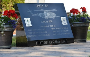 The Jolly 85 memorial stone in front of the VFW Post 1505, Keeseville, N.Y., June 13, 2018. The crash site of the seven Jolly 85 Airmen,  also has a memorial stone at Trembleau Mountain, Keeseville, N.Y.(U.S. Air National Guard photo by Senior Master Sgt. Cheran A. Cambridge)