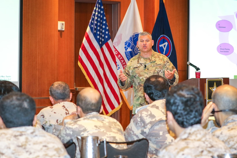 Maj. Marc Sauter, assistant fire support coordinator, U.S. Army Central, discusses artillery targeting cycles and process integration at the Regional Artillery Symposium in Nashville, Tenn., Aug. 6, 2018. The symposium enhanced the interoperability and cooperation of regional partners by creating an open forum for partner nations to discuss field artillery operations, tactical planning and execution methodologies in order to strategically develop the use of artillery assets in the USARCENT area of operations.