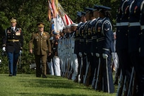 Chairman of the Joint Chiefs of Staff Gen. Joseph F. Dunford, Jr., hosts his Lithuanian counterpart Lt. Gen. Jonas Vytautas Žukas for an honors ceremony on Whipple Field at Fort Myer, in Washington D.C., Aug. 15, 2018. During the ceremony Dunfored presented Žukas with a Legion of Merit award for service to his country. (DOD Photo by Navy Petty Officer 1st Class Dominique A. Pineiro)