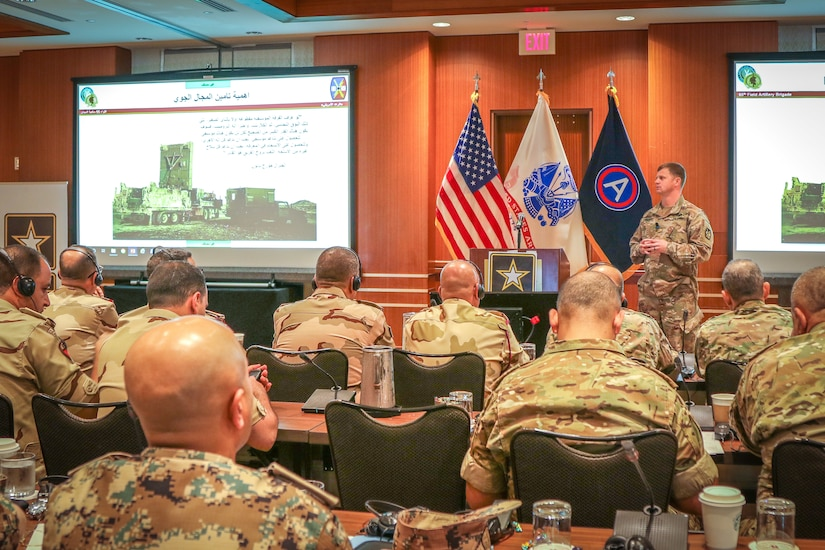 Maj. Brett Anderson, future operations planner, 65th Field Artillery Brigade, shares the importance of airspace clearance and tactical airspace coordination at the Regional Artillery Symposium in Nashville, Tenn., Aug. 7, 2018. The 65th FAB is part of the Utah Army National Guard and serves as the force field artillery headquarters for Task Force Spartan, who operates in the U.S. Army Central area of operations, designed to enhance partnership and cooperation with regional militaries, build partner capacity and maintain readiness for assigned units.