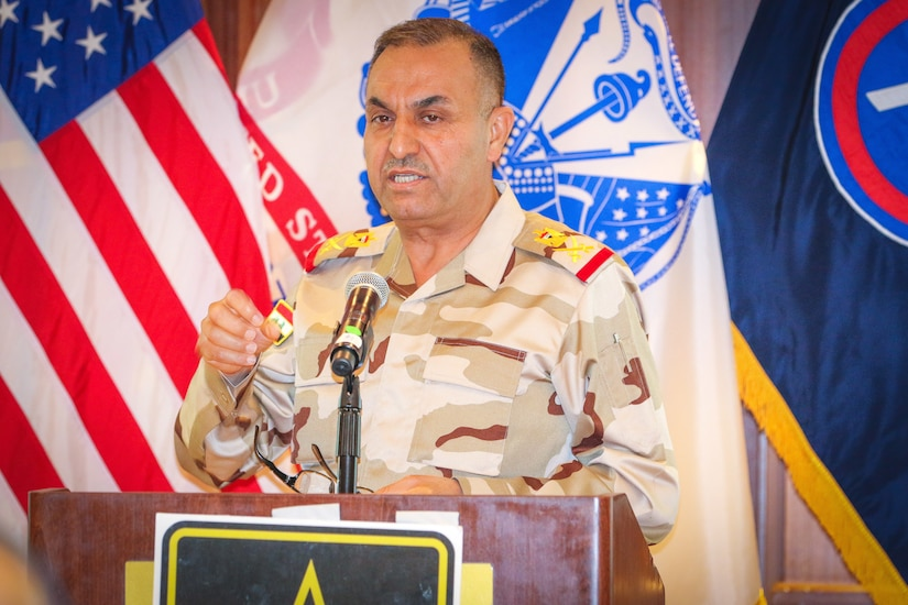 Iraqi security force Staff Maj. Gen. Hatem Kareem Saloom, artillery director for the Iraqi Ministry of Defense, provides an Iraqi artillery capabilities brief at the Regional Artillery Symposium in Nashville, Tenn., Aug. 7, 2018. The symposium enhanced the interoperability and cooperation of regional partners by creating an open forum for partner nations to discuss field artillery operations, tactical planning and execution methodologies in order to strategically develop the use of artillery assets in the U.S. Army Central area of operations.