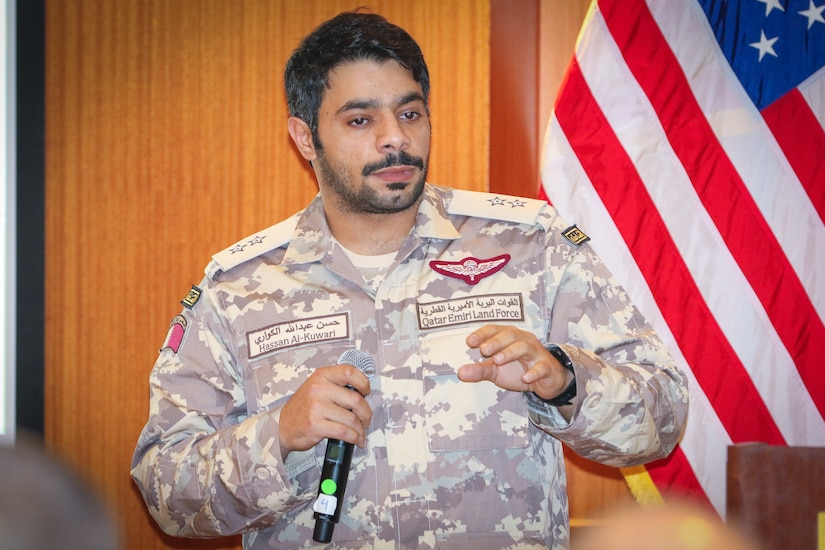 1st Lt. Hassan Al-Kuwari, artillery officer, Qatar Emiri Land Forces, provides an artillery capabilities brief at the Regional Artillery Symposium in Nashville, Tenn., Aug. 8, 2018. The symposium enhanced the interoperability and cooperation of regional partners by creating an open forum for partner nations to discuss field artillery operations, tactical planning and execution methodologies in order to strategically develop the use of artillery assets in the U.S. Army Central area of operations.