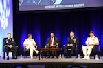 Directors of intelligence discuss challenges, collaborations and using open-source information during the 2018 DoDIIS Worldwide Conference, Aug. 15, 2018, in Omaha, Nebraska.