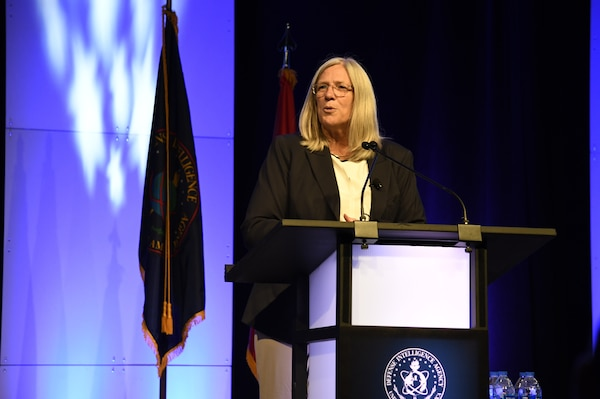 The Honorable Susan Gordon, principal deputy director of national intelligence, addresses attendees Aug. 15, at the 2018 DoDIIS Worldwide Conference in Omaha, Nebraska.