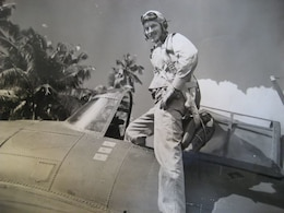World War II veteran Sam Folsom flew the Grumman F4F Wildcat during his time of service in Guadalcanal in late 1942. His squadron, Marine Fighter Squadron 121, was the highest scoring Marine fighter squadron of WWII and received the presidential unit citation. During Folsom's time with VMF-121, he shot down three total enemy aircrafts and received the Purple Heart and the Distinguished Flying Cross. (Courtesy Photo)