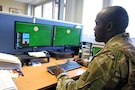 Soldier using computer