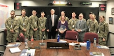 IWR's Joe Manous, Erin Rooks, and Tyson Vaughan (l-r) with West Point Cadets at USACE HQ.
