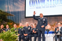 U.S. Air Force Col. Robert Ramirez, 17th Training Wing vice commander, greets the audience during the San Angelo Independent School District's annual convocation at the Foster Communications Coliseum, San Angelo, Texas, Aug. 15, 2018.  Goodfellow leadership was honored for their continued support to the San Angelo community. (U.S. Air Force photo by Aryn Lockhart/Released)