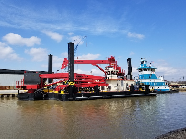 """The USACE Marine Design Center managed the design and construction of the Wicket Lifter """"Keen."""" The vessel is owned and operated by the USACE Louisville District. The wicket lifter operates by raising or lowering the wickets that comprise the Olmsted Lock and Dam."""