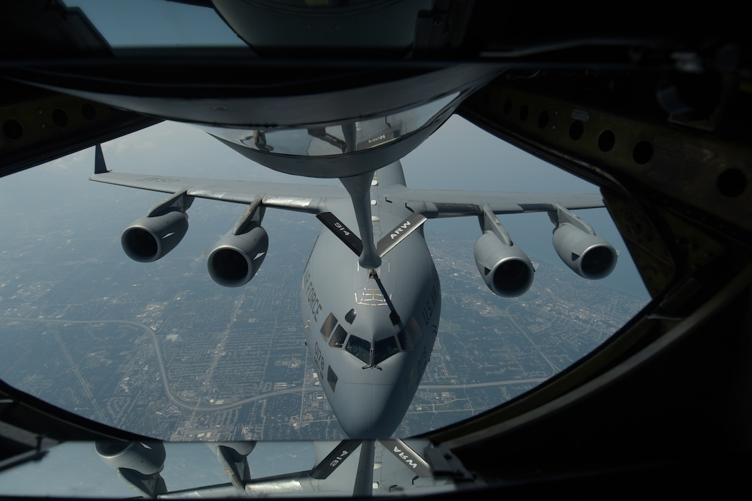 The 914th Air Refueling Wing's 328th Air Refueling Squadron continues to advance with their new mission with their KC-135 Stratotanker as they refuel a C-17 Globemaster III from the 445th Airlift Wing stationed at Wright Patterson Air Force Base.