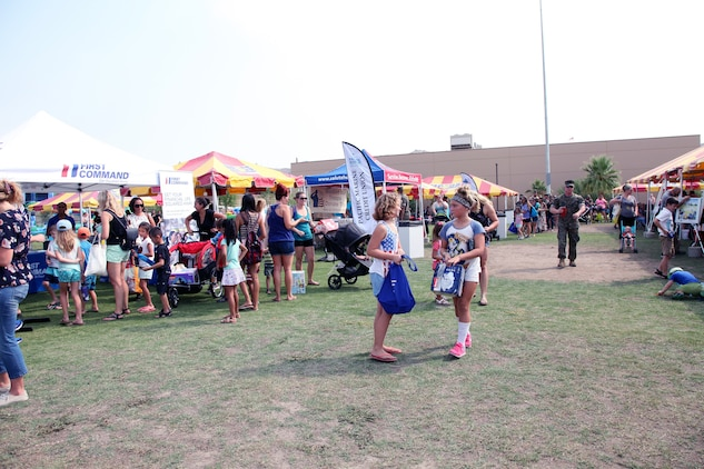 About 1,500 people attended the Back to School Bash hosted by Marine Corps Community Services and the Combat Center School Liaison at Victory Field, Marine Corps Air Ground Combat Center, Twentynine Palms, Calif., Aug. 10, 2018. (Marine Corps photo by Kelly O'Sullivan)