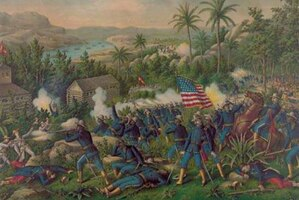 A drawing of U.S. soldiers fighting during the Spanish-American War.