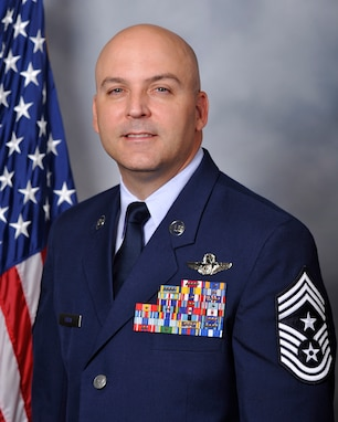 Chief Master Sgt. James E. Fitch, 87th Air Base Wing command chief, poses for a picture on Joint Base McGuire-Dix-Lakehurst, N.J., Aug. 1, 2018. Fitch assumed the role of command chief in July 2018. Fitch said his priorities are to work hard and take care of each military member regardless of rank or service to the best of his ability.