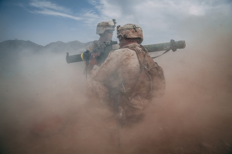 U.S. Marines with the 2nd Battalion, 23rd Marine Regiment fire a Mk 153 Shoulder-Launched Multipurpose Assault Weapon (SMAW) at enemy targets during the Mobile Assault Course at Training Area Prospect as a part of Unit Deployment Program 19.1 aboard the Marine Corps Air Ground Combat Center, Twentynine Palms, Calif., Aug 9, 2018. The purpose of UDP 19.1 is to sharpen technical and tactical skills and enhance unit cohesion to ensure mission success. (U.S. Marine Corps photo by Lance Cpl. William Chockey)
