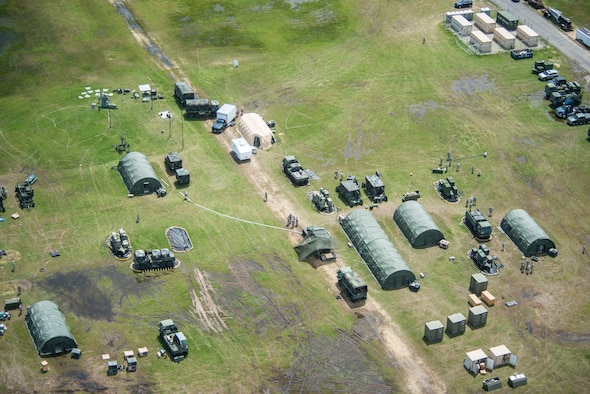 An aerial view of a training site, constructed by members of the 103rd Air Control Squadron (ACS) in Sea Girt, N.J., June 2018. Members of the 103rd ACS constructed the site during an annual training exercise. (Air National Guard photo by Tech. Sgt. Tamara R. Dabney)