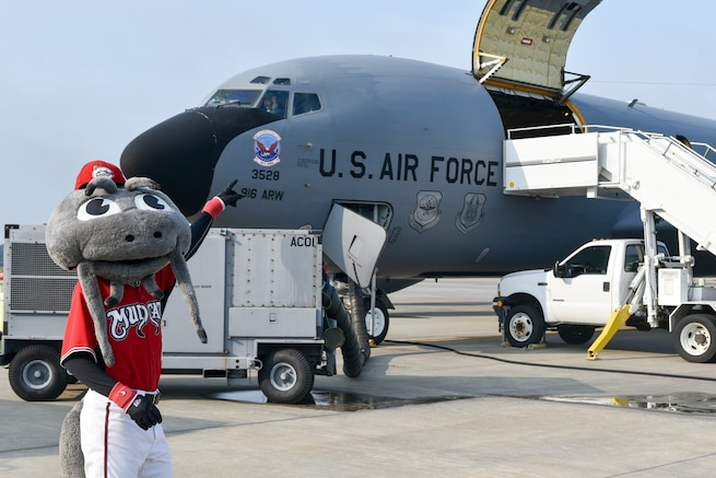 Muddy the Mudcat, the official mascot of the Carolina Mudcats flew in a 916 Air Refueling Wing KC-135R Stratotanker Thursday, Aug. 16, 2018, at Seymour Johnson Air Force Base, North Carolina. (U.S. Air Force photo by Jeramy Moore)