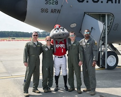 Muddy the Mudcat, the official mascot of the Carolina Mudcats flew in a KC-135R Stratotanker Thursday, Aug. 16, 2018, at Seymour Johnson Air Force Base, North Carolina. (U.S. Air Force photo by Jeramy Moore)