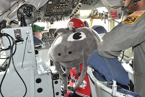 Muddy the Mudcat, the official mascot of the Carolina Mudcats flew in a 916th Air Refueling Wing  KC-135R Stratotanker Thursday, Aug. 16, 2018, at Seymour Johnson Air Force Base, North Carolina. (U.S. Air Force photo by Jeramy Moore)