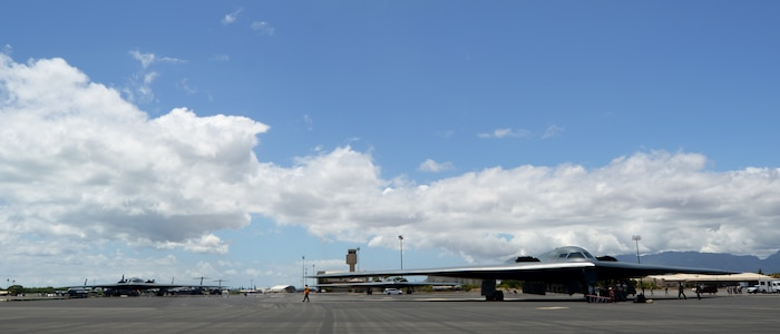 U.S. Air Force B-2 Spirits, deployed from Whiteman Air Force Base, Missouri, land at Joint Base Pearl Harbor-Hickam, Hawaii, Aug. 15, 2018. B-2s regularly rotate through the Indo-Pacific to conduct routine air operations, which integrate capabilities with key regional partners and demonstrate U.S. commitment to peace and stability in the region. These operations are in support of the U.S. Strategic Command's Bomber Task Force deployment. (U.S. Air Force photo by Staff Sgt. Danielle Quilla)