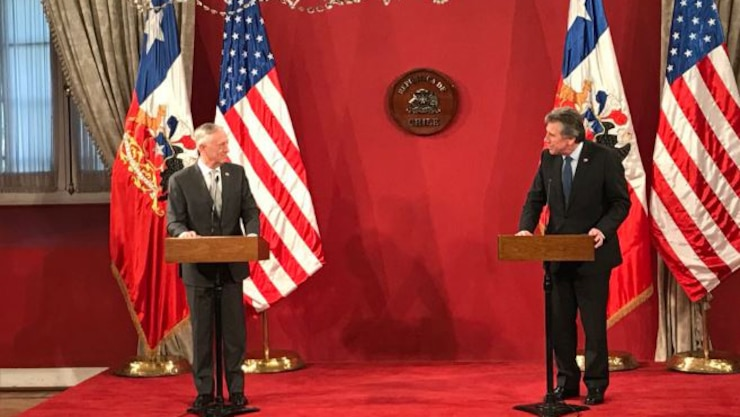 Defense Secretary James N. Mattis and Chilean Defense Minister Alberto Espina deliver remarks.