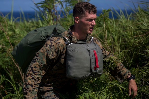 Cpl. Dustin Murphy climbs out of the brush after jumping out of a CH-53E Super Stallion during parachute training operations Aug. 13, 2018 at Ie Shima, Okinawa, Japan. Landing Support Company completed parachute and air delivery training to ensure Marines maintain proficiency and meet required training hours. Murphy, a parachute rigger with Air Delivery Platoon, LS Co., 3rd Transportation Support Battalion, is a native of Indianapolis, Indiana. (U.S. Marine Corps photo by Lance Cpl. Jamin M. Powell)
