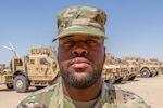 Army Spc. Marqueze McGee, a motor transport operator assigned to the Mississippi Army National Guard's Alpha Company, 106th Brigade Support Battalion, finds time to work on his music while deployed to Camp Buehring, Kuwait, Aug. 4, 2018. Mississippi Army National Guard photo by Spc. Jovi Prevot