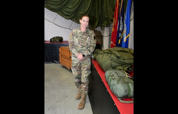 Newly promoted Army Staff Sgt. Brittany Sheehan, operations NCO, DLA Riggers.