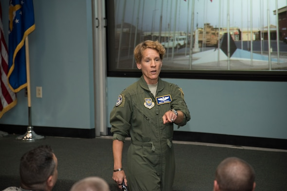 "U.S. Air Force Col. Laurel ""Buff"" Burkel speaks to Airmen assigned to the 105th Airlift Wing at Stewart Air National Guard Base, N.Y., Aug. 4, 2018. Burkel was medically evacuated back to the U.S. on a 105th C-17 Globemaster III. (U.S. Air National Guard photo by Staff Sgt. Julio A. Olivencia Jr.)"