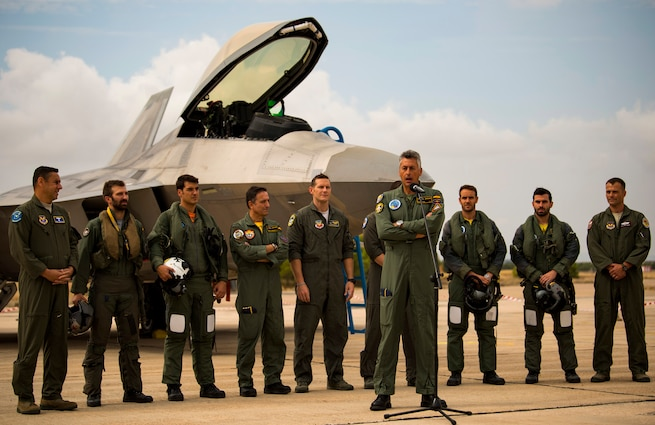 F-22s, Typhoons train over Spain