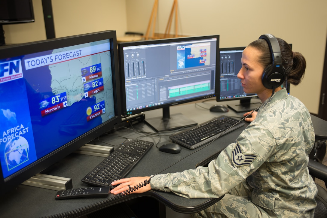 Staff Sgt. Nikitta Oakley, 2nd Weather Squadron weather craftsman, prepares an Africa weather forecast animation in the American Forces Network Weather Center (AFNWC) Aug. 9, 2018, at Offutt Air Force Base, Nebraska. The AFNWC provides daily forecasts for 85 locations around the world. (U.S. Air Force photo by Paul Shirk)