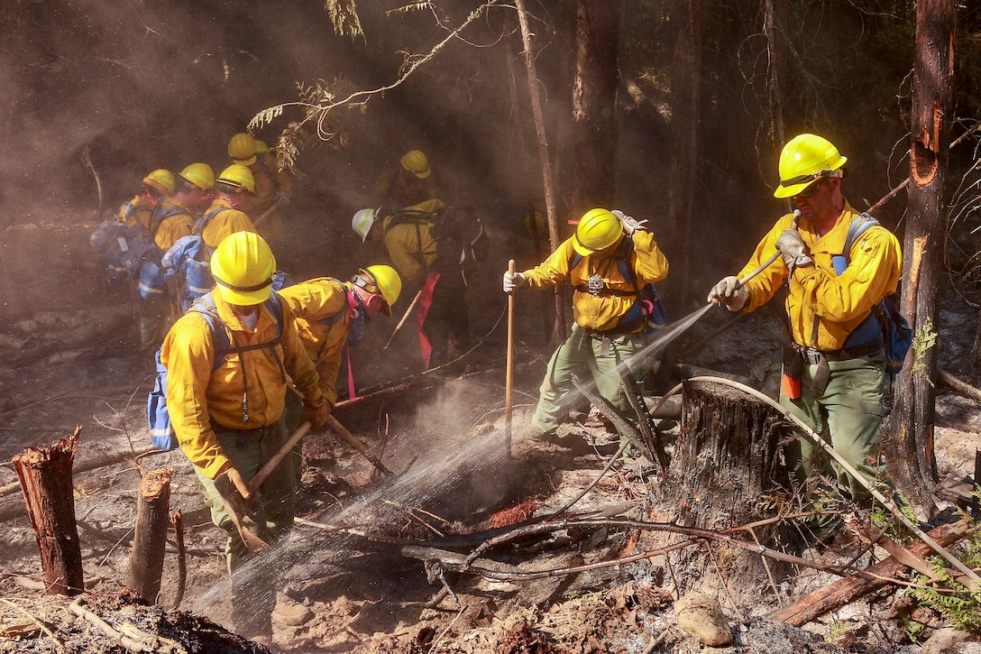 Airmen from the Washington Air National Guard fight the Sheep Creek fire Aug. 6, 2018, near Northport, Wash. Washington Army and Air National Guardsmen made up 102 of the 350 personnel assigned to fight the Sheep Creek fire. (Washington Air National Guard photo by Tech. Sgt. Tim Chacon)