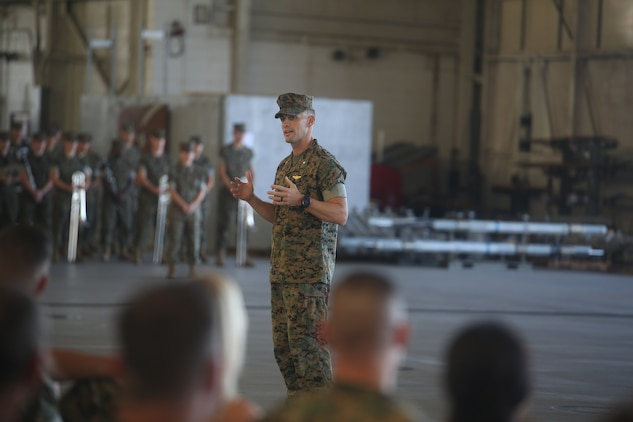 Lt. Col. Steven B. Bowden speaks to the audience during the Marine Fighter Attack Squadron 312 change of command ceremony aboard Marine Corps Air Station Beaufort, Aug. 10. During the ceremony, Lt. Col. Benedict G. Buerke relinquished command of VMFA-312 to Bowden.