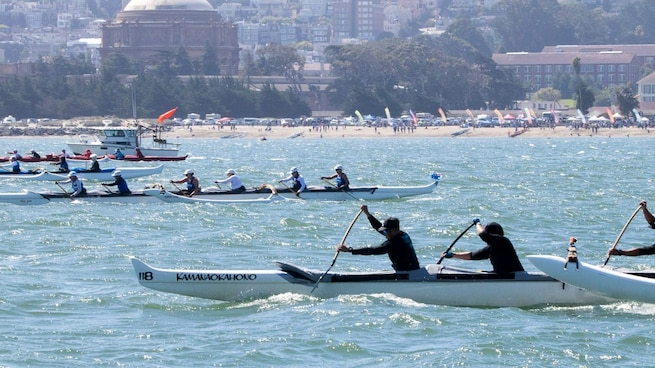 """Chief Master Sgt. Patricia Kawa'a, 349th Medical Group, after training and being prepared she was selected to join the canoe race team during the """"Round the Rock"""" Alcatraz Challenge Outrigger on Aug. 4, 2018, San Francisco, Calif. (courtesy photo)"""