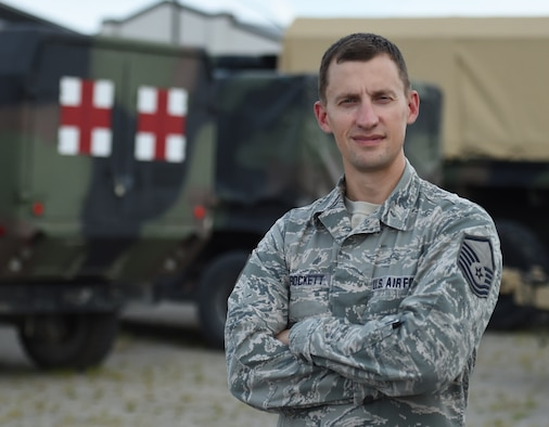 U.S. Air National Guard Master Sgt. Davy Crockett, 132d Medical Group laboratory NCOIC, poses for a portrait on August 16, 2018, at Camp Dodge in Johnston, Iowa. Crockett is a direct descendent of the historical individual. (U.S. Air National Guard photo by Staff Sgt. Michael J. Kelly)