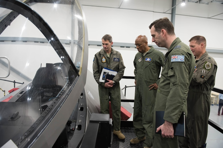 Gen. CQ Brown, Jr., Pacific Air Forces commander, receives a tour of the F-35 complex at Royal Australian Air Force Base Williamtown, Australia, Aug. 9, 2018. This was Brown's first trip to the region since taking command on July 26, 2018. (U.S. Air Force photo by Staff Sgt. Hailey Haux)