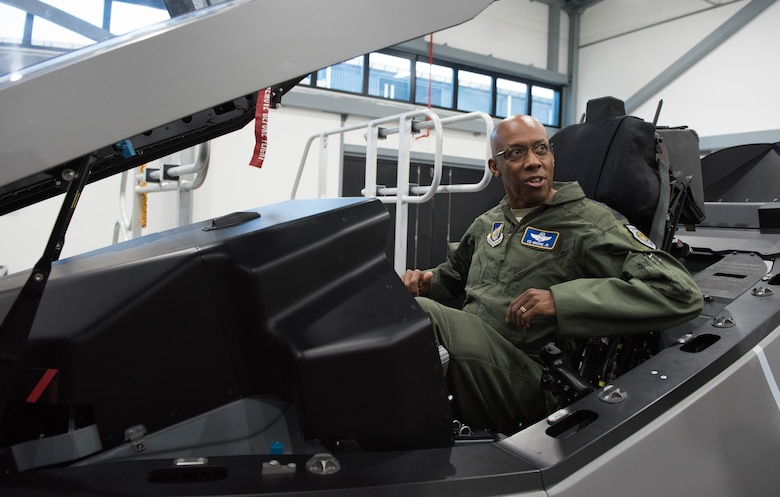Gen. CQ Brown, Jr., Pacific Air Forces commander, receives a tour of the F-35 complex at Royal Australian Air Force (RAAF) Base Williamtown, Australia, Aug. 9, 2018. This was Brown's first trip to the region since taking command on July 26, 2018. (U.S. Air Force photo by Staff Sgt. Hailey Haux)
