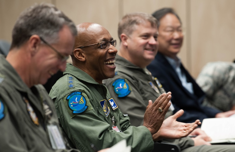 Gen. CQ Brown, Jr., Pacific Air Forces commander, attends a briefing by Air Commodore Rob Chipman, General Capability Planning director, at Royal Australian Air Force (RAAF) Base, Williamtown, Ausltralia, Aug. 9, 2018. His first trip to the region since taking command on July 26, 2018, Brown also met with key defense and military leaders in Canberra and RAAF Bases Tindal and Darwin to see first-hand the strength of the U.S.-Australia alliance and discuss opportunities to ensure a free and open Indo-Pacific region. (U.S. Air Force photo by Staff Sgt. Hailey Haux)